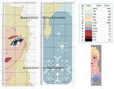 Elsa - Disney marque page Cross Stitch Bookmarks, Cross Stitch Books, Beaded Cross Stitch, Crochet Cross, Cross Stitch Charts, Cross Stitch Embroidery, Disney Cross Stitch Patterns, Cross Stitch For Kids, Cross Stitch Designs