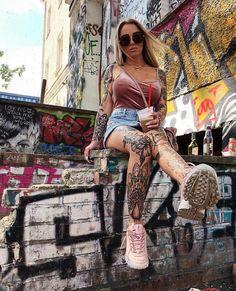 Model Girl Tattoos, Tattoos For Women, Music Symbols, White Ink, Punk, Lady, Model, Beauty, Fashion