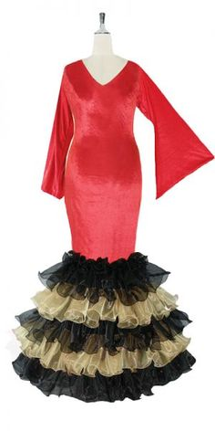 The FABULOUS 6-in-1 VELVET & ORGANZA dress, with sleeves, black, red and light tan. Order one dress and use it six different ways! The stretch velvet top is reversible, PLUS the organza ruffles are reversible AND detachable (so that you also get a short dress option). Never has so much value been available in one dress! 20mm hanging sequins are added to the ruffles for extra shimmer. http://www.sequinqueen.com/product.php?productid=3306=68=1
