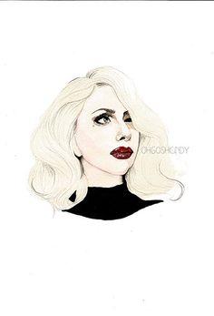 Lady Gaga watercolour portrait painting PRINT by ohgoshCindy