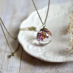 Resin jewelry clear orb sphere necklace Preserved by EightAcorns