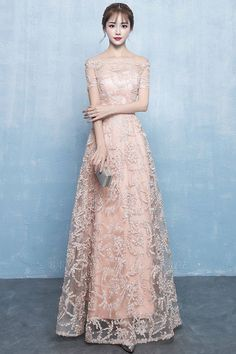 A-line Off-the-shoulder Short Sleeves Long Beading Appliques Prom/Formal Evening Dresses Formal Dresses For Weddings, Elegant Dresses, Pretty Dresses, Long Dress Formal Elegant, A Line Dress Formal, Formal Wear, Gold Evening Dresses, Simple Evening Gown, Long Sleeve Evening Dresses
