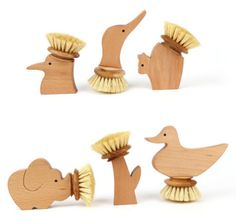 wooden animal brushes ~ cute