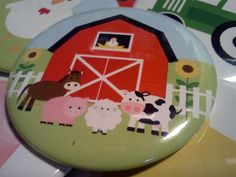 Farm Barn Animals 2.5 inch Party Favor Buttons set of 24. $15.99, via Etsy.