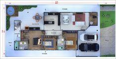 Plantas de casas e sobrados para TERRENOS 12 X 25 (300 m²)! Home Building Design, Home Design Plans, Home Interior Design, Building A House, Interior Decorating, Sims House Plans, House Layout Plans, House Layouts, Small House Design