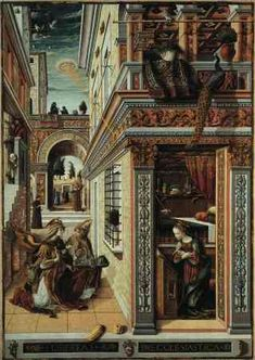 """The painting above was done by Carlo Crivelli (1430-1495) and is called """"The Annunciation with Saint Emidius"""" (1486) and hangs in the National Gallery, London. A disk shaped object is shining a pencil beam of light down into Mary's crown chakra. A blow up of the object is next to the painting."""