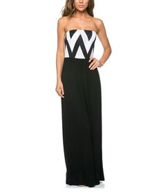 This Black Chevron Strapless Maxi Dress by Celeste is perfect! #zulilyfinds