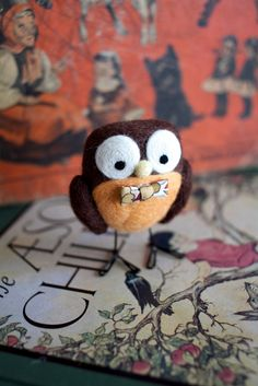 owl with bow tie needle felt craft