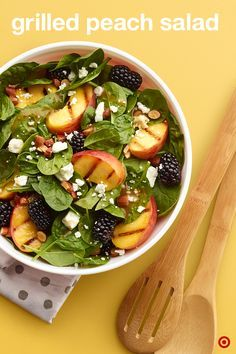 Grilled Peach Salad—Amazingly simple and easy on the eye, this is the yummiest way to end a warm summer night. Here's how easy it is: Fire up the grill to medium high, cut peaches in half, brush cut sides with oil and grill for 3-4 minutes till grill marks appear. Turn over and grill till tender. Toss spinach, blackberries, feta and almonds in a large bowl. Slice the grilled peaches into bowl, drizzle over with vinaigrette and toss. Bon appetit!