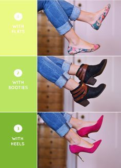 Always Roll your pants 2-3 times for Straight Leg or Boyfriend Jeans: One last thing…when it comes to boot leg, flare, or wide leg jeans, don't bother trying to roll them. They look messy and are meant to be worn how they come!