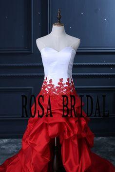 Custom White with Red High Low Wedding Prom Dress por rosabridal