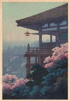 TEMPLE CORNER BY ITO YUHAN. The colors, composition and atmosphric perspective alone would be enough to make this a favorite… Japanese Art Prints, Japanese Artwork, Japanese Painting, Japanese Poster, Chinese Painting, Japon Illustration, Japanese Illustration, Botanical Illustration, Japanese Aesthetic