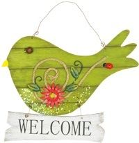 "Wooden ""Welcome"" Bird Hanger: Green(HH67979)"