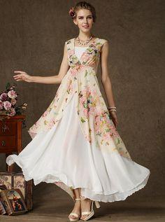 White V Neck Sleeveless Butterfly Print Maxi Dress - abaday.com