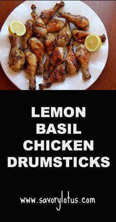Lemon Basil Chicken Drumsticks - savorylotus.com