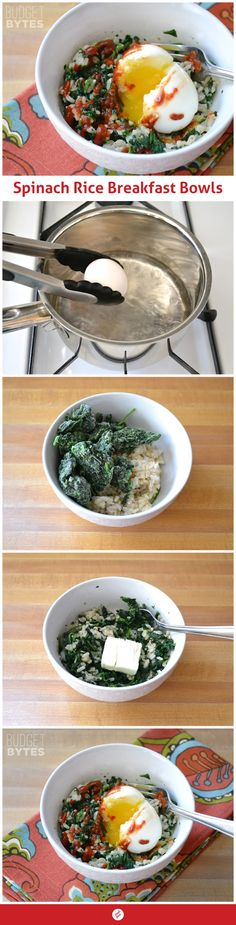 Spinach Rice Breakfast Bowls - Fotoplot - Photosets Done Right
