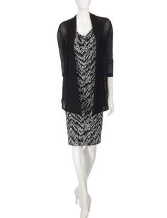 Connected Textured Knit Black Jacket Over Dress | Stage Stores