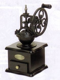 Old-fashioned wrought iron hand grinder . the act of manually grinding my own… I Love Coffee, Coffee Art, Coffee Shop, Coffee Cups, Coffee Maker, Drip Coffee, Antique Coffee Grinder, Manual Coffee Grinder, Coffee Grinders
