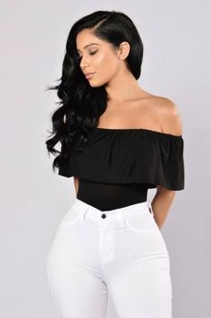 Available in Burgundy and Black Off Shoulder Body Suit Top Ruffle Snap Button Bottom Cheeky Bottom SleevelessAll Bodysuits FINAL SALE Made in Rayon Spandex Black Off Shoulder, Swimsuits For Curves, Bodysuit Fashion, Curve Dresses, Curves Clothing, Men's Clothing, Fashion Nova Models, Black Bodysuit, Mode Style