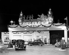 1939 - J. L. Clark's Gulf Service Station, 1739 Fredericksburg Rd. Great Christmas decorations and super looking autos. You don't see gas stations like that anymore.