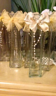 First communion center pieces. My favorite so far. Perfect for a girl/boy celebration