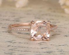 8mm Cushion Cut Morganite Ring,Morganite Engagement Ring,Morganite Solitaire Ring,Morganite Pave Diamond Wedding Ring