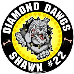 Bulldog Personalized Youth Sport Car Window Decals Magnets Wall Decals Yard Signs