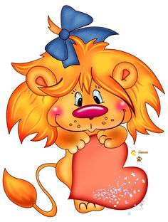 LION WITH HEART CLIP ART