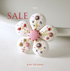 SALE. Bloom hand made polymer clay brooch in white. Made to order. $28.00, via Etsy.