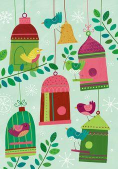 Lesley Breen Withrow print of green birdcages and pink birds Delightful art for your children's bedroom