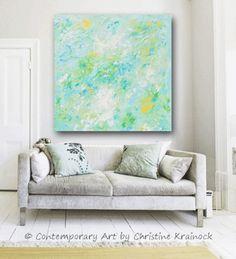 GICLEE PRINT Soft Aqua Blue Abstract Painting Light Blue Modern Canvas Print Coastal Beach Artwork Pale Green White Yellow Wall Art Home Decor LARGE Select Sizes - Christine Krainock - Christine Krainock Art - Contemporary Art by Christine - 1