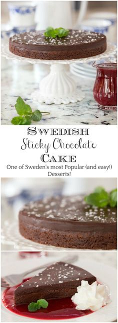 Kladdkaka (aka Swedish Sticky Chocolate Cake) is one of Swedens most beloved (and easy!) desserts and every chocolate lovers dream come true! via The Caf Sucre Farine Easy Chocolate Desserts, Vegetarian Chocolate, Chocolate Recipes, Easy Desserts, Chocolate Cake, Delicious Desserts, Chocolate Lovers, Chocolate Chips, Swedish Recipes
