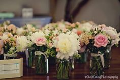 These were also from a sister-in-law's wedding.  She had a French country chic wedding, complete with peony whimsy overflowing in mason jars tied with antique lace.