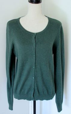 H&M Hunter Green Cardigan Crew Neck Sweater Sz L Large Womens Long Sleeve #HM #Cardigan