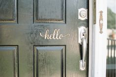 Rustic Front Door Decor. Script Hello Wood Sign from Woodums wood decor.