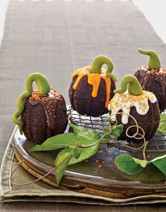 Mini pumpkin cakes (chocolate with marzipan stems)