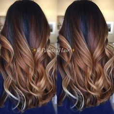 Chocolate and Caramel Balayage Highlights on Dark Hair