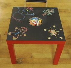 Things to do with an Ikea table - paint with chalkboard paint, cut hole, insert chalk bin, have fun. Love this idea