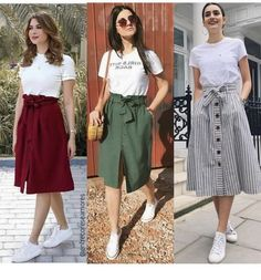 Best three outfits for August Long Skirt Outfits, Modest Outfits, Modest Fashion, Hijab Fashion, Trendy Outfits, Korean Fashion, Cool Outfits, Summer Outfits, Fashion Dresses
