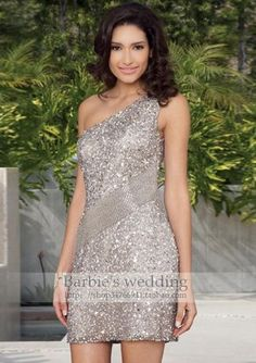 $90.83 silver shiny rhinestones evening dress/ one shoulder short paragraph Slim Banquet Annual Meeting dress - http://zzkko.com/book/shopping?note=19190