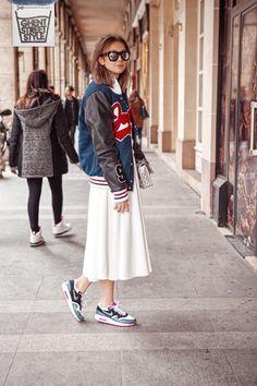 Streetstyle-Paris-College-jacket-Baseball-Skirt