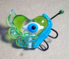Flight of Electric Vision Handmade lampwork bead  eye by Genea
