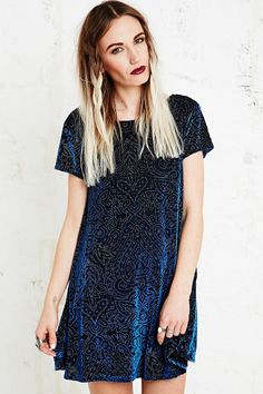b53ac6c91f5dc Minkpink Velvet Burnout Dress in Navy Hipster Fashion