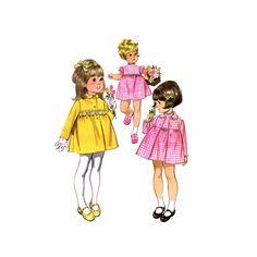 1960s Toddler Girls High Waist Coat Dress Puff Sleeves McCalls 6900 Vintage Sewing Pattern
