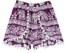 Purple Shorts, Boho Shorts, White Shorts, Hippie Look, Boho Look, Short Skirts, Short Dresses, Elephant Print, Tunic Shirt