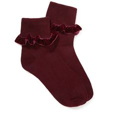 FOREVER 21 Velveteen Ruffle Socks ($3.90) ❤ liked on Polyvore featuring intimates, hosiery, socks, accessories, red, red crew socks, crew length socks, crew cut socks, frill socks and ruffle socks