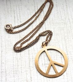 1960s Brass Peace Pendant Necklace // Hippie by TrueValueVintage