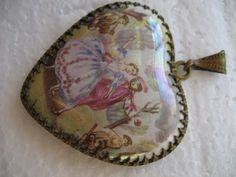 Victorian porcelain pendant - Happy Valentin'e Day