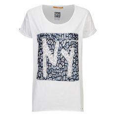 BOSS Orange Women's Talmaya T-Shirt (110 BRL) ❤ liked on Polyvore featuring tops, t-shirts, white, short t shirt, white tops, leopard print tops, leopard top and patterned tops