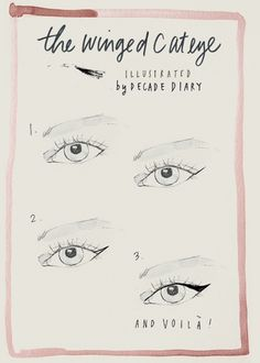 THE WINGED CAT EYE           An Illustrated Tutorial I drew for the perfect cat eye,  Read it here:  Blog Post: Eye Spy « Illustration by Decade Diary